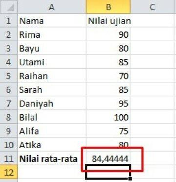 Cara Menghitung Rata Rata Excel 957e1