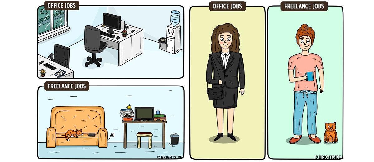 15 Ilustrasi Lucu Perbedaan Antara Freelance dan Pekerja Kantoran