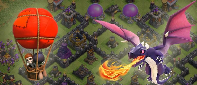 Tips COC: Menghancurkan Base 100% Menggunakan Kombinasi Naga dan Balloon