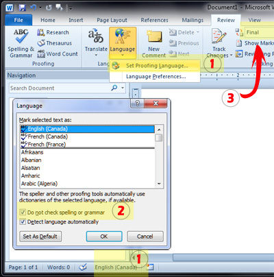 how to remove the red line Word2010