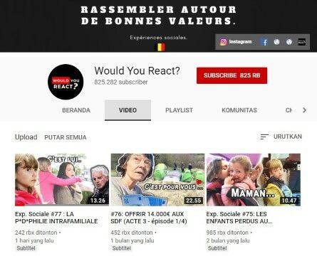 Channel Youtube Eksperimen Sosial Would You React Custom A159c