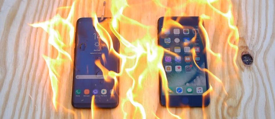 Samsung Galaxy S8+ dan iPhone 7 Dibakar, Siapa yang Paling Kuat?