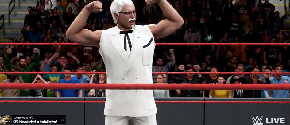 Kalem Kuy! Kakek Maskot KFC Ikut Gelut di Game WWE 2K18