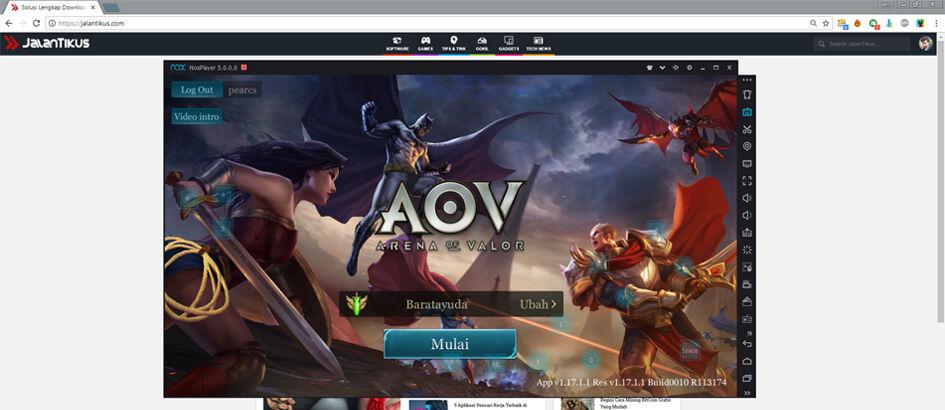 Cara Main Garena Arena of Valor (AOV) Di Komputer atau Laptop Tanpa Lag