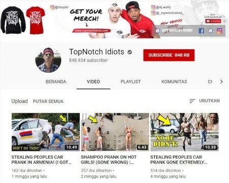 Channel Youtube Prank Pranks Topnotch Idiots Custom 4483b