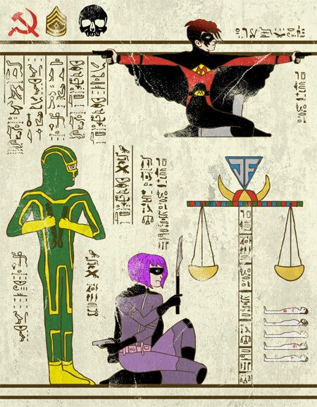 7 Wujud Superhero Yang Digambar Dengan Gaya Mesir Kuno 5
