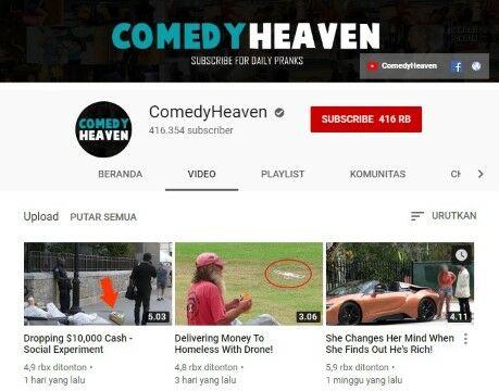 Channel Youtube Eksperimen Sosial Comedyheaven Custom F4d34