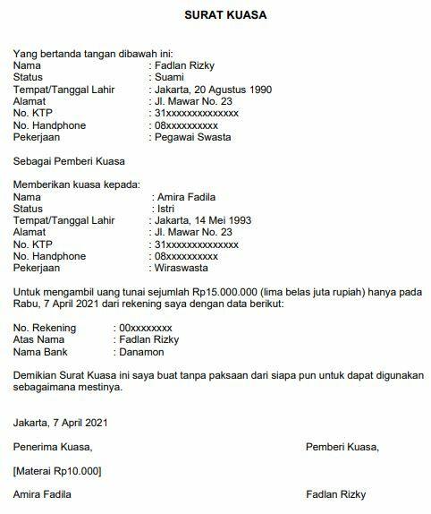 Contoh Surat Kuasa Pengambilan Uang Di Bank Danamon E065e