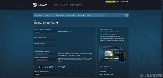 Cara Membuat Akun Steam Website 1