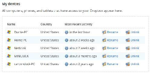 Dropbox Unlink Devices
