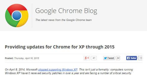 Google Chrome Support Windows Xp Hingga 2015