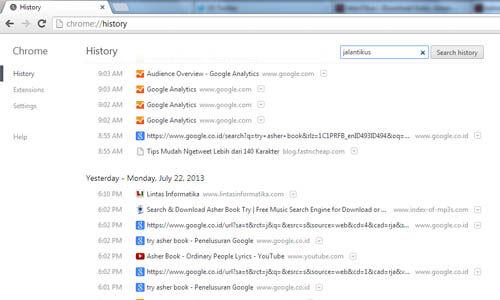 Tips Mencari Website Yang Pernah Diakses Melalui History Chrome 2
