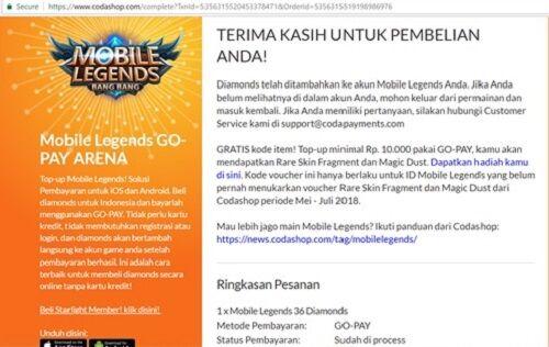 Top Up Mobile Legends Menggunakan Gopay 7 79e37