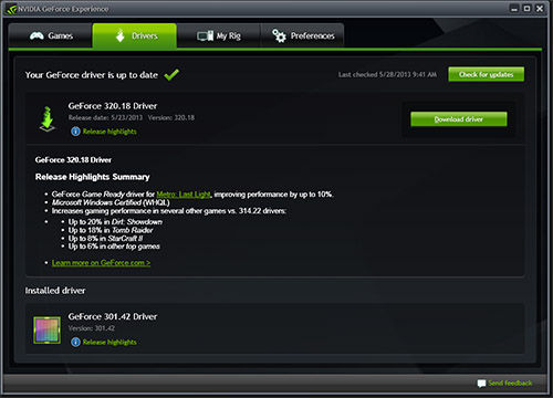 NVIDIA GeForce Experience Home