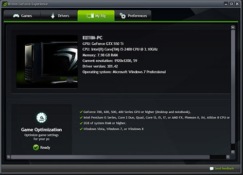 NVIDIA GeForce Experience Rig