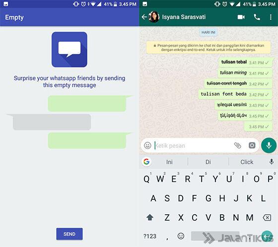 Cara Membuat Chat Kosong di WhatsApp