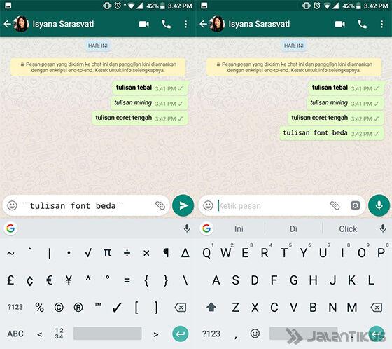 Cara Membuat Tulisan Beda Font di WhatsApp