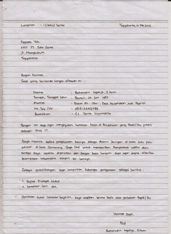 Cara Membuat Lamaran Kerja Tulis Tangan Yang Baik Benar Jalantikus Com