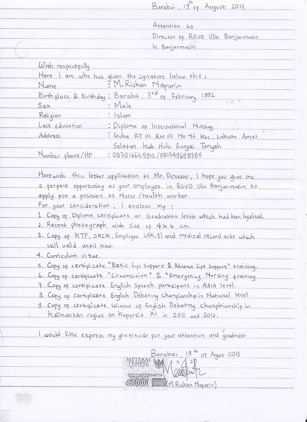 Cara Membuat Lamaran Kerja Tulis Tangan Jalantikus Com