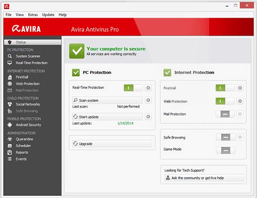 Avira Antivirus Pro 2014