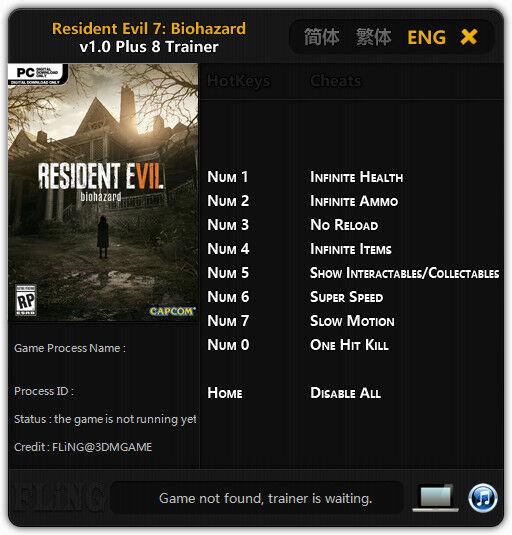 Cheat Trainer Resident Evil 7 1