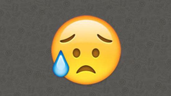 Emoji ekspresi sedih dengan satu tetesan keringat