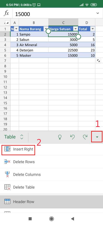 Cara Menambahkan Kolom Di Excel Hp B798e