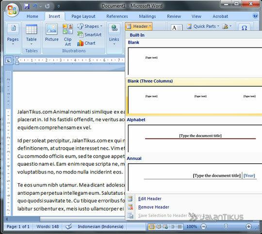 Cara Membuat Header Footer Ms Word 2007 2