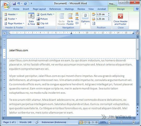 Cara Membuat Header Footer Ms Word 2007 3