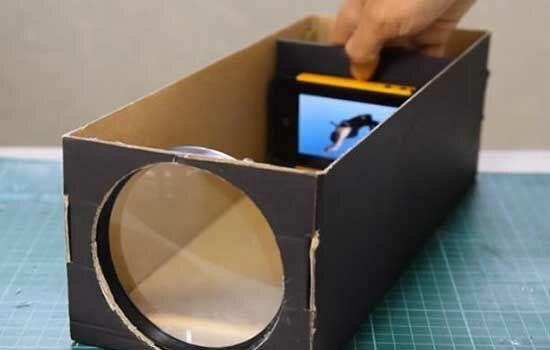 Proyektor Smartphone Dari Kardus Sepatu 10
