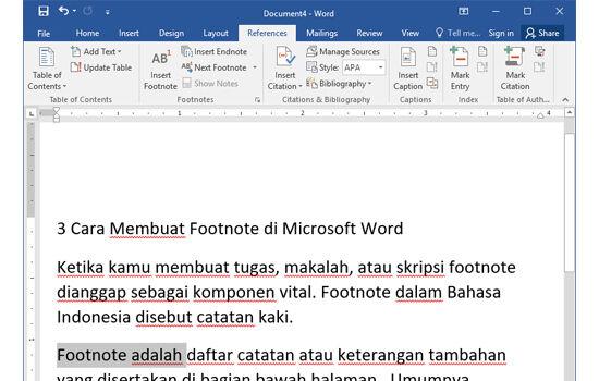 Cara Membuat Footnote Langkah Pertama Dfe10