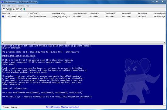 Bluescreenview Screenshot