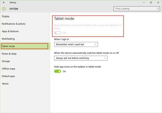 Windows 10 System Tablet Mode