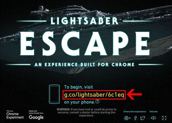 google star wars game lightsaber escape