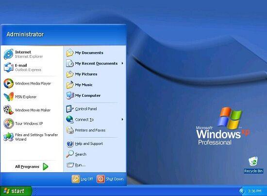 Windows 95 Start Menu Xp