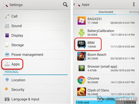 Settings Apps Bbm