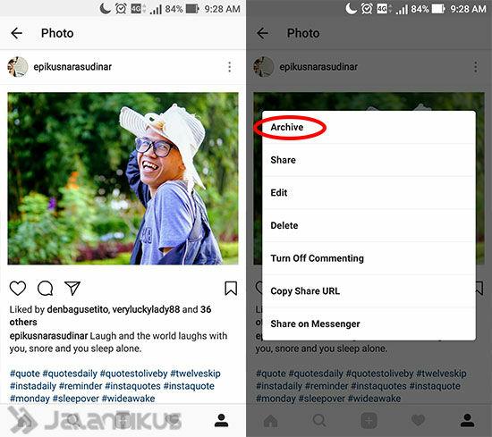 Cara Menyembunyikan Foto Di Instagram 2