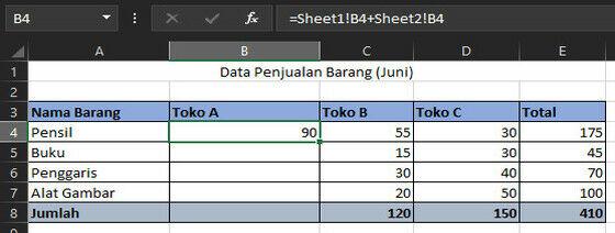 Penjumlahaan Sheet Berbeda Dengan Dbe16