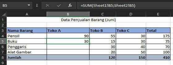 Penjumlahan Sheet Berbeda Dengan SUM 69aba