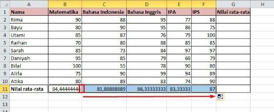 Menghitung Rata Rata Pada Excel 40a6a