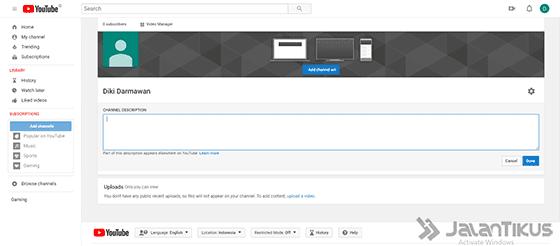 cara menambahkan foto profil di youtube