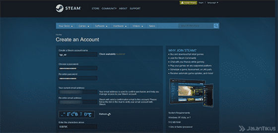 how to make a steam-website-1 account