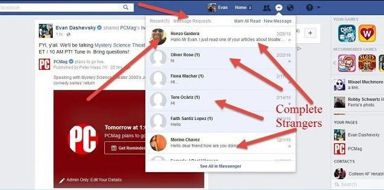 Aplikasi Facebook - Inbox