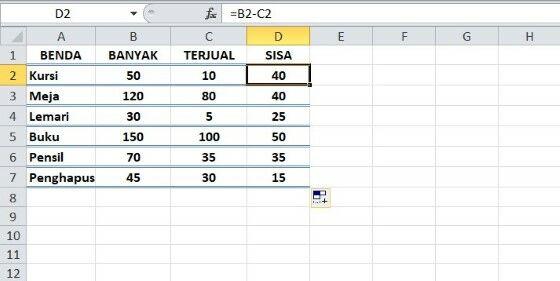 Rumus Excel Pengurangan Fa80f