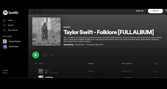 Nonton Folklore Taylore Swift Di Sportify F2b41