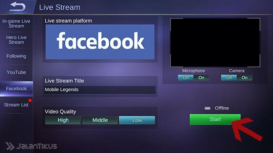 Cara Live Streaming Mobile Legends 4