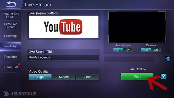 Cara Live Streaming Mobile Legends 5