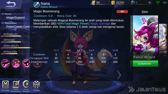 Skill 1 Nana - Magic Boomerang