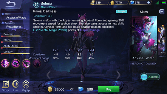 Skill 3 Selena Mobile Legends A Acbee
