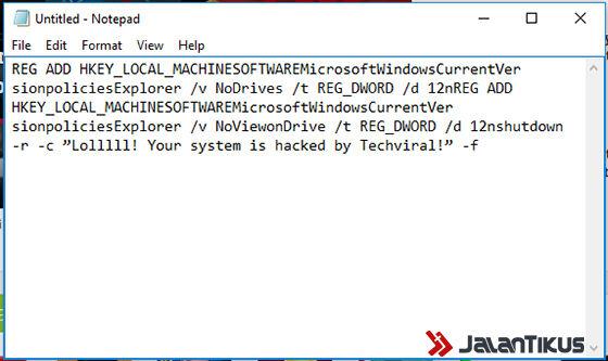 Cara Membuat Virus Di Notepad 2